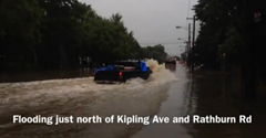 Flooding just north of Kipling and Rathburn (click to watch video on The Star)