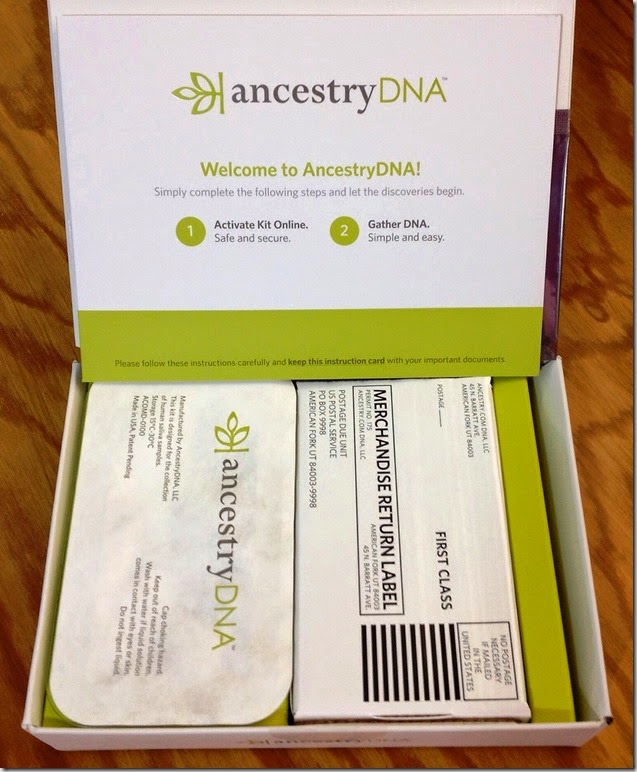 DNA test kit from Ancestry
