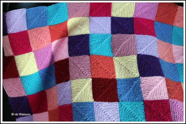 Blanket Stitch Knitted Squares Together : Waiouru: Knitting Blankets