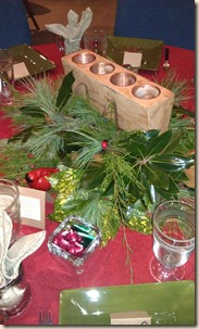 Magnolia leaf and candle centerpiece 12-15-11