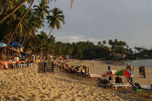 Sitting at a table on the beach, looking left. We were quite busy in Goa.