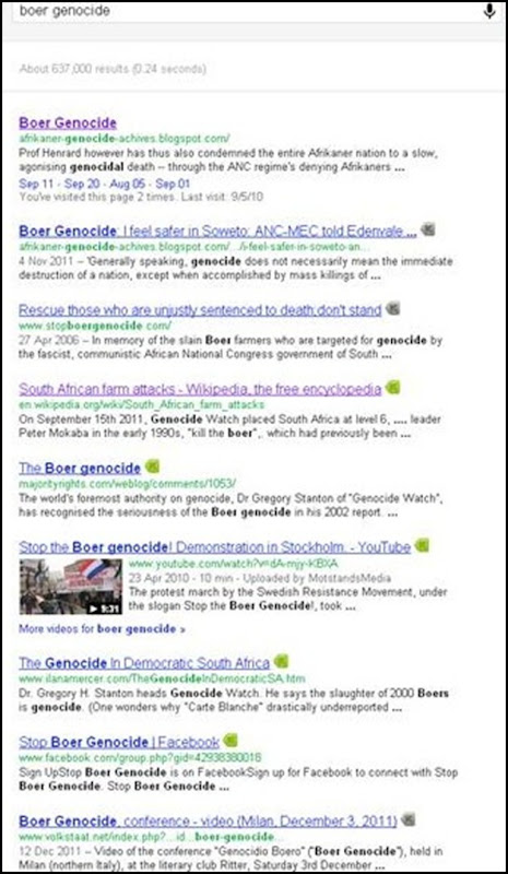 Boer Genocide 637000 Google hits Dec 23 2011