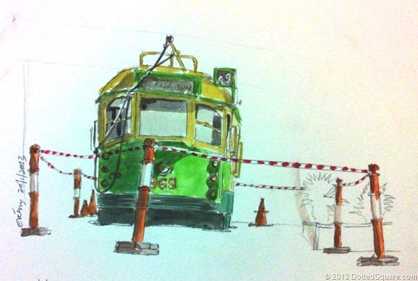 Stationary Tram Sketch