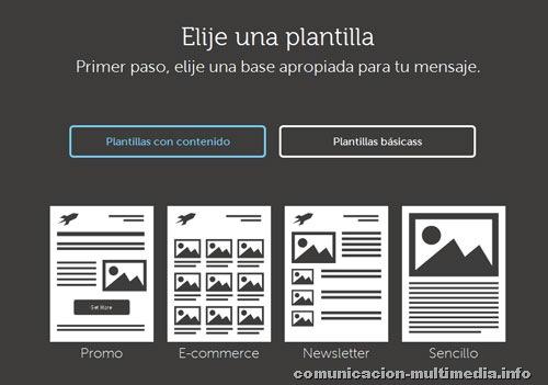 Las 4 plantillas básicas con las que podremos empezar a trabajar: Promo, E-commerce, Newsletter y Sencillo.