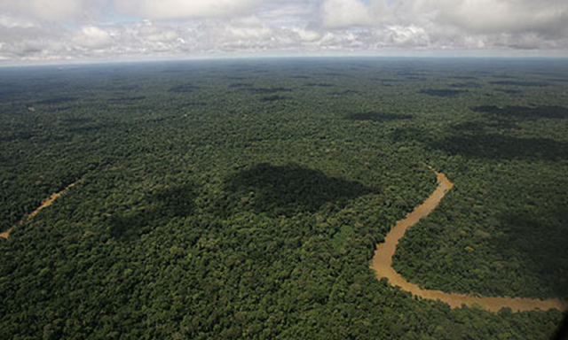 Aerial view of the Yasuni National Park, in Ecuador's northeastern jungle. Ecuador's President Rafael Correa has abandoned a unique and ambitious plan to persuade rich countries to pay his country not to drill for oil in a pristine Amazon rainforest preserve. Photo: Dolores Ochoa / AP