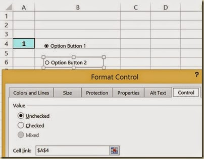 Scenario Analysis in Excel - Format Option Button
