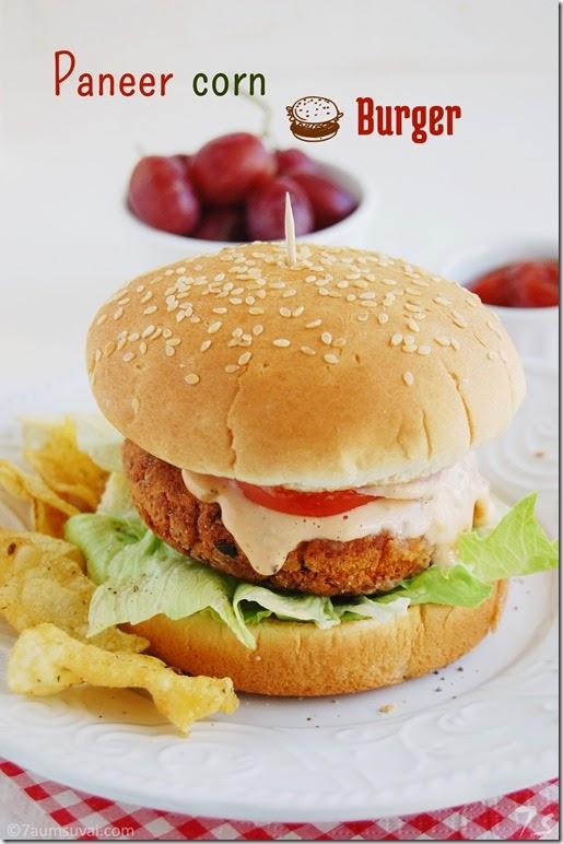 Paneer corn burger pic 2