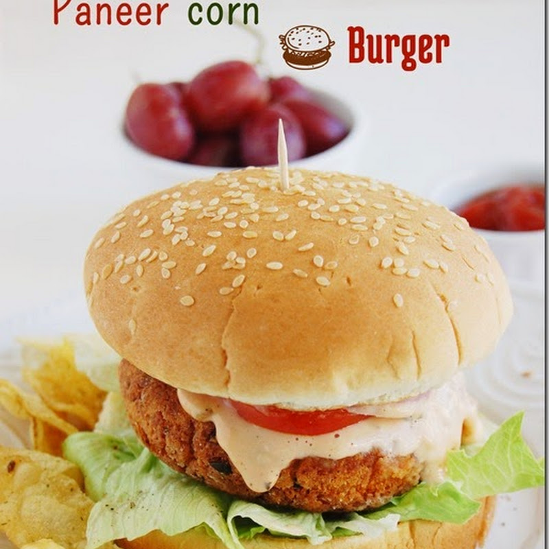 Paneer corn burger