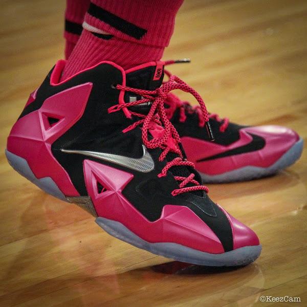 Swin Cash Debuts Nike LeBron 11 8220Think Pink8221 PE