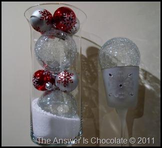 Hurricane Vase, Snowflake Ornaments