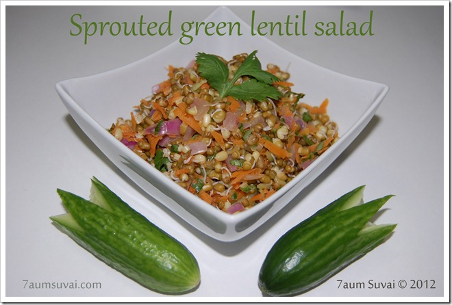 Sprouted green lentil salad