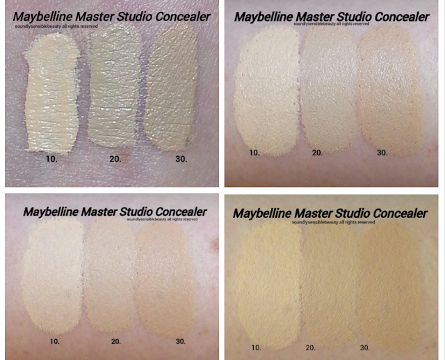 Maybelline FaceStudio Master Concealer Review & Swatches of Shades 010 Fair, 020 Light, 030 Light/Medium, 040 Medium, 050