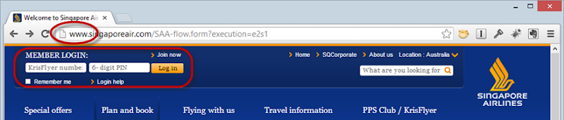Singapore Airlines loading the login form over HTTP