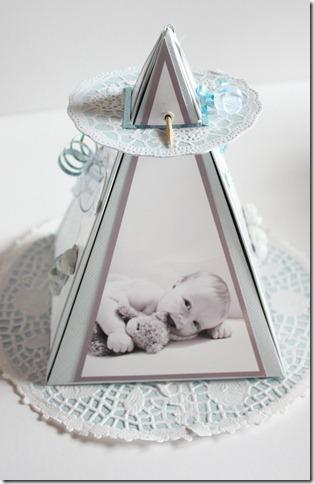 Dåpsinvitasjoner pyramide kort invitasjon baby blå IMG_1672