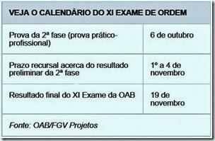 CRONOGRAMA XI EXAME OAB