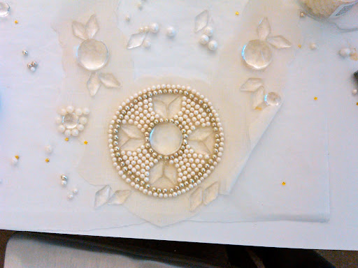 Here, the first stages of the candy necklace. When we found the Fancy Flours giant candy gems, the necklace really began to take shape.