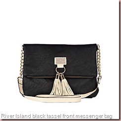 River Island black tassel front messenger bag
