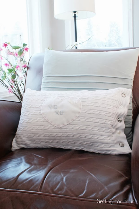 Make this easy DIY Heart Sweater Pillow