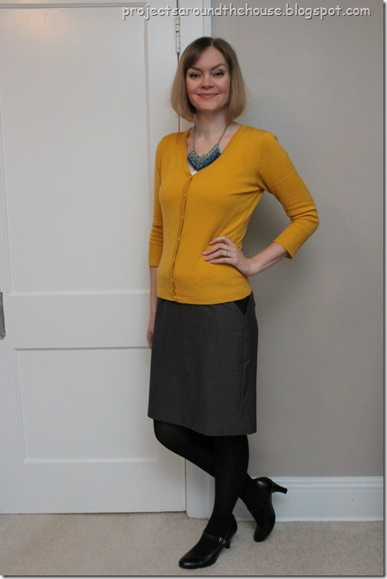 mustard, grey and blue