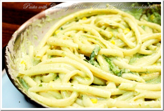 Pasta with Creamy Roasted Poblano Sauce | Authentic Mexican Food Recipes