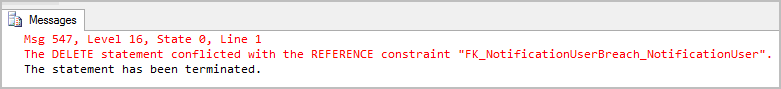 Unable to run delete statement due to referential integrity