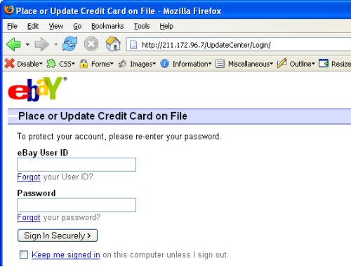 A fraudelant eBay site after an unvalidated redirect