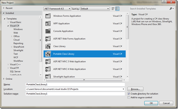 Visual Studio 2011 features - Project dialog Portable library