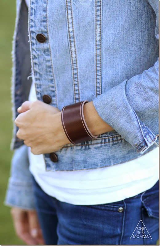 Wide brown leather cuff and denim