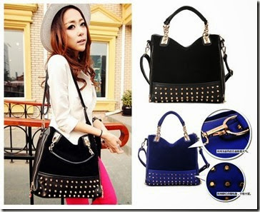 SY 923 Black - Blue (189.000) - PU Leather + Velvet, 28 x 32 x 12, talpan