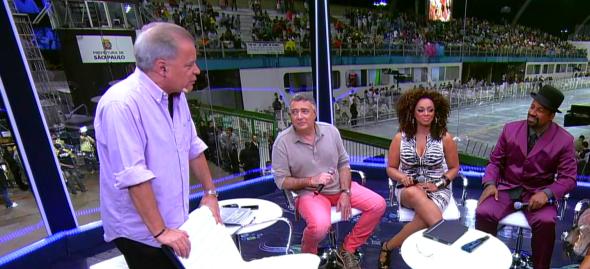 Chico Pinheiro, Celso Viáfora, Paula Lima e Aílton Graça no Estúdio Globeleza (Foto: Reprodução/TV Globo)