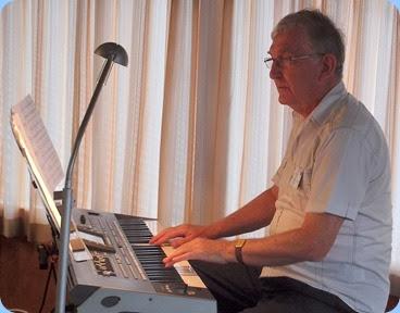Gordon Sutherland playing his Korg Pa3X. Photo courtesy of Dennis Lyons