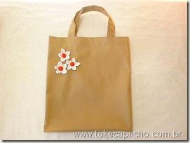 Sacola Ecológica Bege com flor de tecido