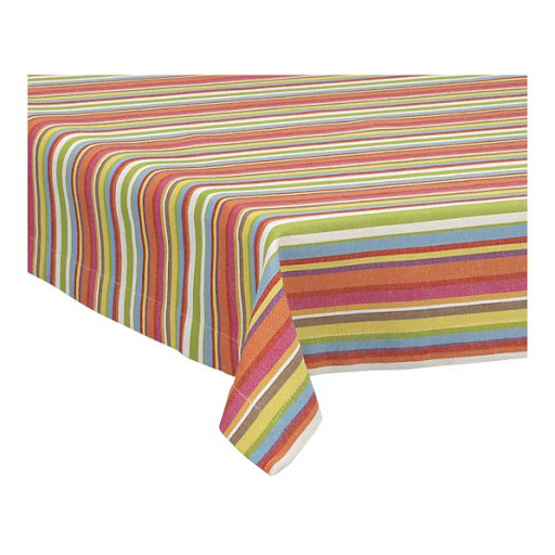 A bright striped tablecloth will look great on your backyard table.  (crateandbarrel.com)