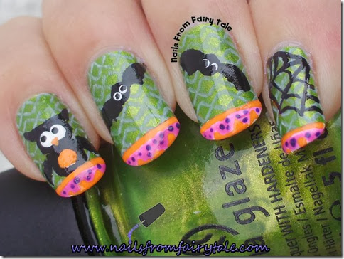 china glaze cha cha cha with owl bats and web 4