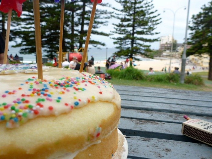 cake at the beach with the east coasters