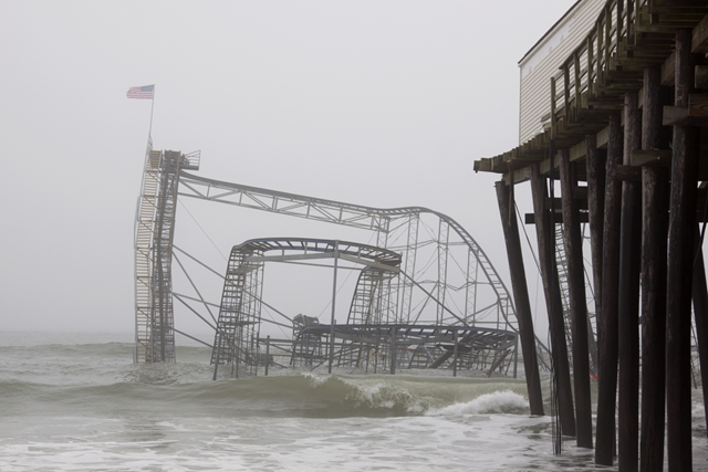 The Casino Pier Star Jet roller coaster submerged in the sea on 13 January 2013 in Seaside Heights, New Jersey. Photo: Glynnis Jones / Shutterstock