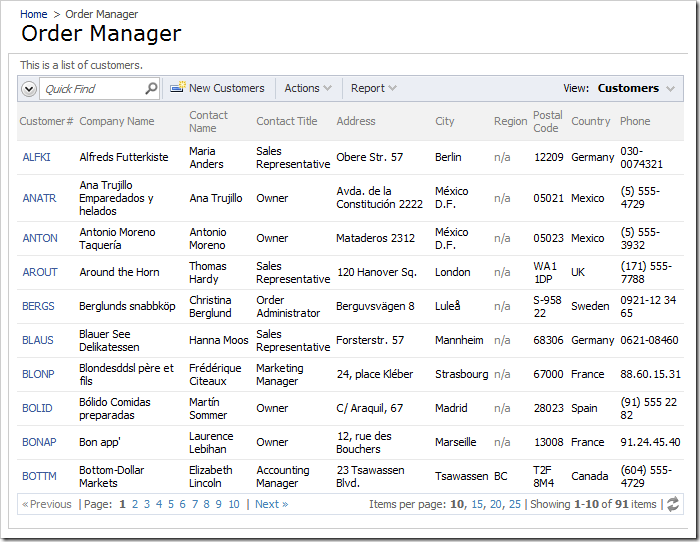 Order Manager page with only the list of customers displayed.