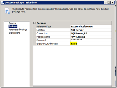 SQL Server 2012 SSIS ExecuteOutOfProcess