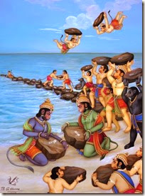 [Monkeys building bridge for Lord Rama]