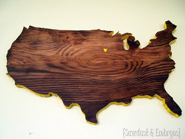 United States Plaque cut using a scroll saw {Sawdust and Embryos}
