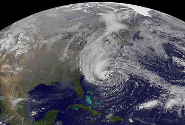 Satellite view of Hurricane Sandy, at 9:02 am EST on 28 October 2012. NASA GOES Project