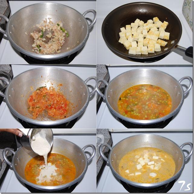 Paneer vegetable kurma process