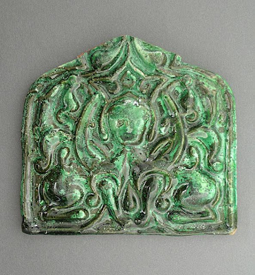 Tile | Origin: Turkey | Period:  13th century | Collection: The Madina Collection of Islamic Art, gift of Camilla Chandler Frost (M.2002.1.108) | Type: Ceramic; Architectural element, Earthenware, molded and glazed, 4 1/4 x 4 11/16 in. (10.8 x 11.91 cm)