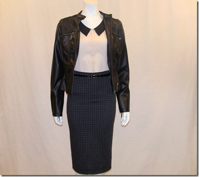 faux leather jkt $29.99 blouse $24 skirt $24