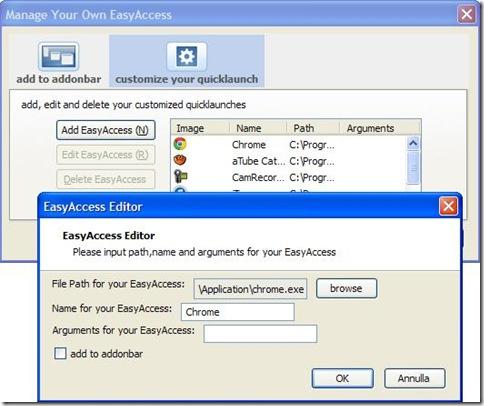 Easy Access aggiungere programma PC a Firefox
