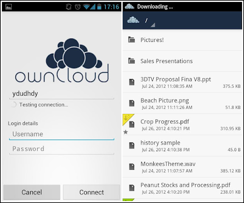 ownCloud su Android