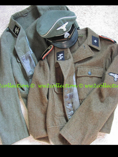 Waffen-SS M44 Uniform Tunic SS-BW marked and Waffen-SS Peaked Cap WW2 Schirmmütze Visored Cap