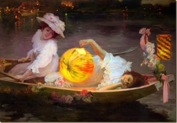 Ulpiano Checa y Sanz, Jeunes filles dans une barque et lampion