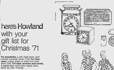 Howland advertisement for Seth Thomas Minicube alarm clock