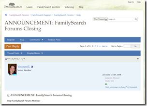 FamilySearch announced it is closing its forums